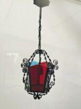 Vintage Hanging Porch Metal And Glass Lantern Light