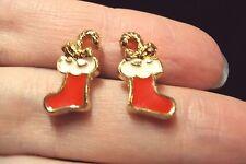 vintage festive Santa's stocking red + gold stud earrings Avon 1992 Christmas
