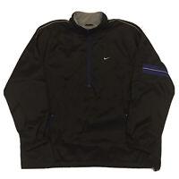 Vintage 90s Nike Jacket Coat Mens XXL Swoosh Black Full Zip Hip Hop Streetwear