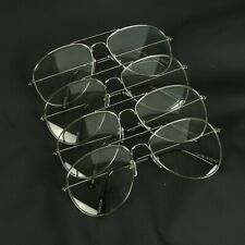 12 Pack 80s Pilot Style Clear Lens Silver Metal Frame Glasses Classic Wholesale
