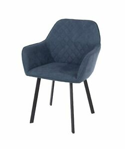 Pair of Blue Fabric Armchairs Upholstered Accent Modern Living Black Metal Leg