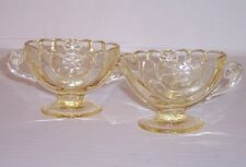 Heisey Glass Half Circle Sahara Yellow Cream & Sugar set