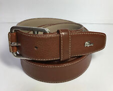 Lacoste Mens Tan Brown Leather Belt Metal Alligator Logo Size 36
