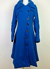 ForeMode Med. Women's Trench Coat Winter Double-Breasted Jacket Hooded Belt Blue