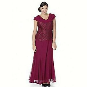 Ladies Sleeveless Evening Dress-Burgundy / Lace Effect Top-UK Sizes 16 & 32-NEW
