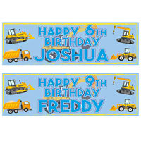 2 PERSONALISED DIGGER -JCB-TRACTOR-DUMPER-LORRY BIRTHDAY BANNERS 800 x 297mm