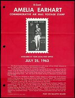 UNITED STATES MINT SOUVENIR PAGE 1963 AMELIA EARHART FOLDED PUNCH HOLES