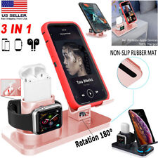 Universal 3 in 1 Charging Dock Station Stand Holder Fr Apple Watch AirPods iPad