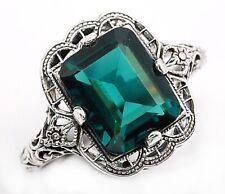 3CT London Blue Topaz 925 Sterling Silver Nouveau Style Ring Jewelry Sz 9, FL4