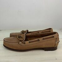 RALPH LAUREN COUNTRY - Vtg 90s Brown Leather Slip-on Loafer Boat Shoes, Womens 9