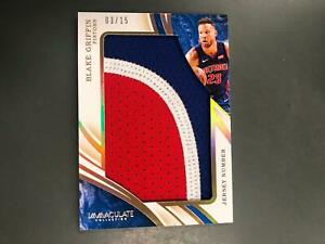 Blake Griffin 2019/20 Immaculate Jumbo Jersey Number Patch #3/15 Pistons Nets