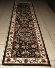 NEW BLACK TRADITIONAL PERSIAN DESIGN HEATSET FLOOR HALLWAY RUNNER RUG 80X300CM