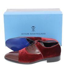 SUTOR MANTELLASSI Derby Bordo Patent & Velvet Oxford Shoes UK 7 US 8 D NIB $780
