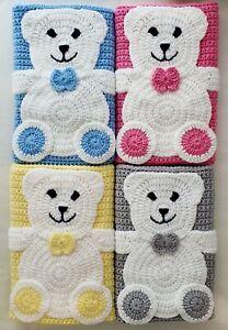 Baby Blanket Hand Crochet Knitted Blue Pink Lemon Grey Teddy Moses Pram Shower
