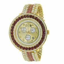 Real Diamond Gold Tone XL Custom Red & White Multicolored Removable Bezel Watch
