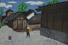"Kiyoshi Saito Japanese Woodblock Print ""Spring in Aizu"" Signed Vintage 1960s"