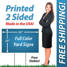 10 - 24x36 Yard Signs & Political FULL COLOR! Corrugated Plastic + FREE Stakes