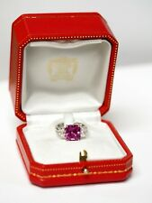 Vintage Cartier Pink Sapphire Cushion & Diamond Ring GIA Certificate #5192439721