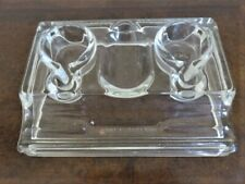A SOLID GLASS INK AND PEN HOLDER. CLEAR GLASS 1920's J.H & CO