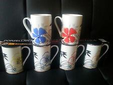 4er Set Porzellan Kaffeebecher / Kaffetassen / Tassen Blumen bunt -- CASA LINGA