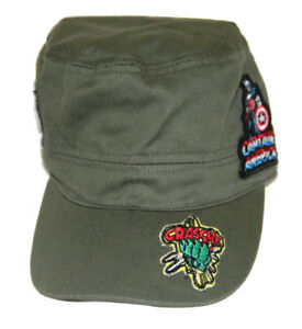 Marvel Boys Army Green Super Hero Patches  hat Size: 4-6 yrs