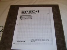 Pioneer SPEC-1 vintage preamplifier PAPER COPY of the very rare owner's manual