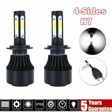 Pair 4-Sides H7 COB LED Headlight Bulb High Low Beam Bulbs 6000K White Kit US
