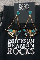 NEW Designer Erickson Beamon Rocks Blue Blondie Gold Crystal Chandelier Earrings