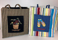 Lot of 2 Longaberger Tote Bags One Plaid One Stripes
