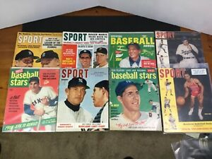 Lot of 8 Vintage Baseball Magazines. 1951-1963. Mantle,Rizzuto,Kaline