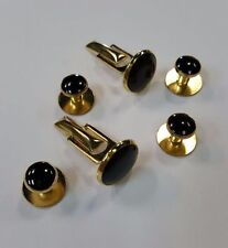 NEW Black Gold Tuxedo Cuff Links Shirt Studs Formal Set Tux Cufflinks TUXXMAN