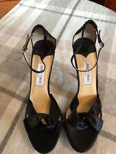 Jimmy Choo Macy black satin high heel sandals with platform UK8 EU42