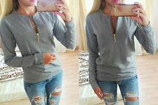 Ladies V-Neck Long Sleeve Hoodies Zip up Women's Sweatshirt Pullover Blouse Tops