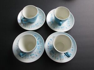 4 Cups & Saucers Royal China Blue Heaven.  Excellent condition
