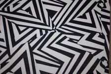 Black White Geometric ITY Print #60 Stretch Polyester Lycra Spandex Fabric BTY