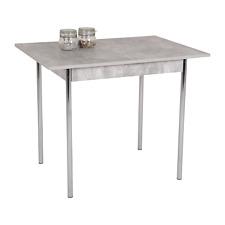 Tisch Esstisch Küchentisch grau Betonoptik Stahlgestell chrom