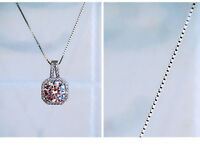 925 Sterling Silver PL Round Cubic Zirconia Full CZ Square Pendant Necklace17.7""