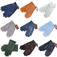 Fashion Women Winter Warm Genuine Lambskin Leather Driving Soft Lining Gloves