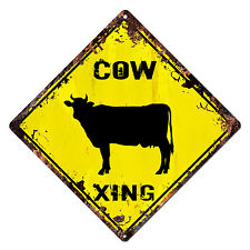 DS-0019 COW XING Diamond Sign Rustic Chic Sign Shop Home Decor Gift