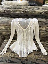 Vintage LongSleeve silk Eyelet TRANSIT peasant romantic sexy cardigan top blouse