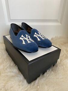 Gucci Men's Blue Velvet NY Yankee Logo Loafers Sz 10.5G/11US