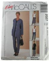 McCalls Sewing Pattern 2027 Misses Cardigan Top Pull On Pants Skirt Size B 8-12