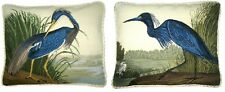 "Pair of 15"" x 18"" Handmade Wool Needlepoint Blue Indiana Heron Pillow"