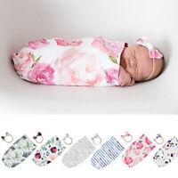 Newborn Baby Infant Girl Flower Swaddle Sleeping Bag Sleepsack Wrap Headband
