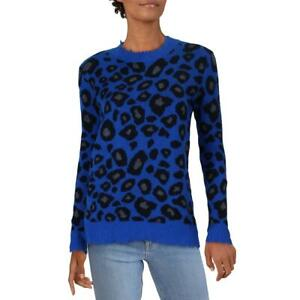 Aqua Womens Cashmere Animal Print Destroyed Pullover Sweater Top BHFO 1988