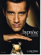 PUBLICITE ADVERTISING 094  2008  LANCOME  parfum pour homme HYPNOSE  CLIVE OWEN