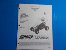 1998 Manco Machine Offroad Vehicle Model 286-182E Operators Manual Supplement