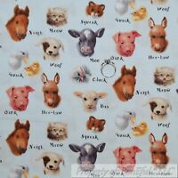 BonEful Fabric FQ Cotton Quilt VTG Blue Farm Animal Baby Cat Dog Cow Pig Horse S
