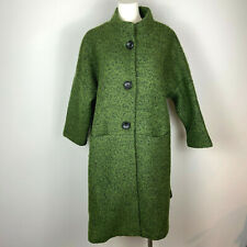 BUYKUD Coat Green Loose Woolen Retro Style Wool Blend Boucle One Size Fits Most