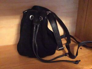 NEXT Small Black Suede Duffle Drawstring Bag